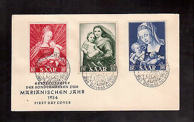 Saar 1954 First Day Cover, Madonna And Child # 250/52 !!