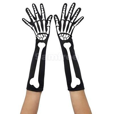 Adult Party Costume Halloween Ghost Gothic Skull Skeleton Bone Long Gloves