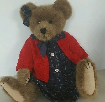 "Boyds Bear Girl Red Sweater Archive Series 17"" #1364  Brown Jointed Plush Bear"