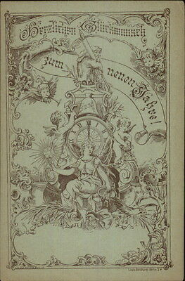 Art Nouveau - Very Early German New Year c1880s Illustrated Postcard gfz