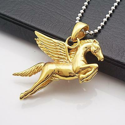 Pegasus Flying Horse Stainless Steel Pendant Necklace Men Gold