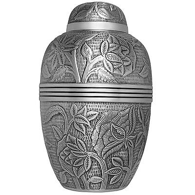 Adult Silver Cremation Urns, Large New Funeral Urn For Human Ashes