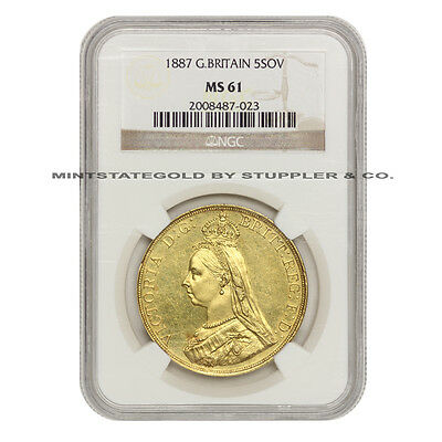 1887 Gold Great Britain 5 Sov Pound NGC MS61 uncirculated Queen Victoria coin