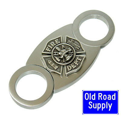 Old Road Firefighter Fireman Silver Stainless Cigar Cutter Carry Pouch