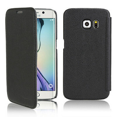 New Black Flip Cover Leather Case for Samsung Galaxy S6 Edge