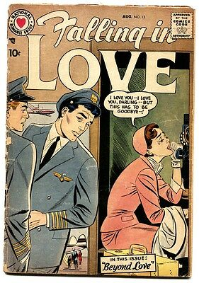 Falling in Love #12 comic book 1957- DC Romance - Airline Pilot cover- G