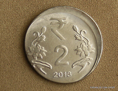 Good Off Centre Misstrike India 2 Rupee 2013 Circulated World Coin  #ggla6