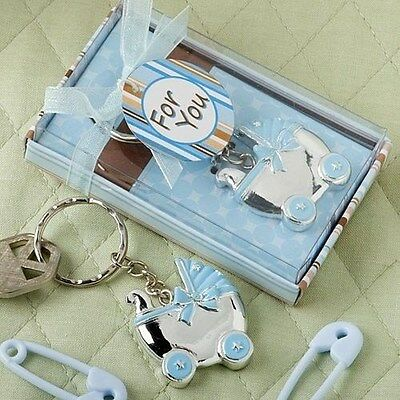 100 Blue Baby Carriage Design Key Chains Baby Shower Favors
