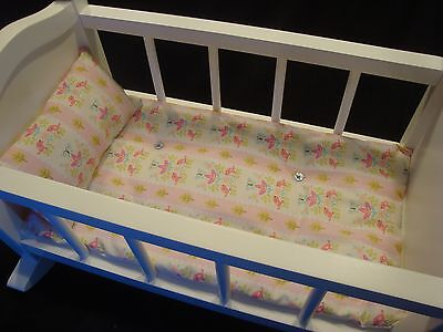 """Mattress For Doll Cradle  17"""" x 9 1/2"""" Bedding Set Fits PB Pink Birds Butterfly"""