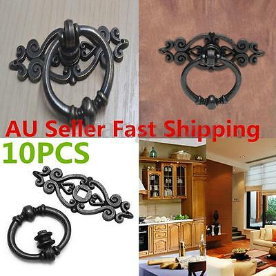 10x Black Antique Cabinet Door Drawers Cupboard Ring Pull Handle Retro Knob