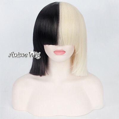 Half Blonde Mixed Black Short Bob Sia Fashion Party Women Cosplay Wig + Wig Cap