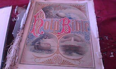 Antique Large Family Bible Lots Of Pictures & History Diary Brass Clasp 1892