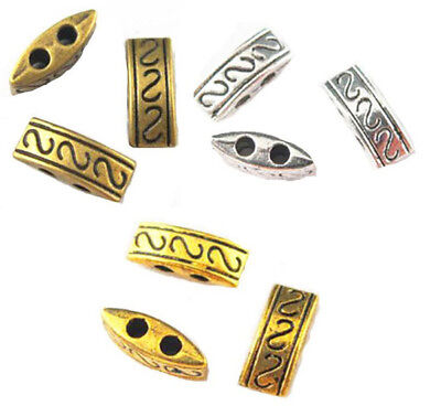 20/100pcs Retro Antique Metal Alloy Two Hole Spacer Beads 10mm Jewelry Making