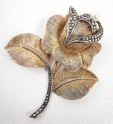 Lovely Theodore Fahrner Sterling Silver Marcasite Pearl Rose Pin - Germany