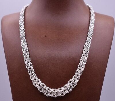 "17"" Italian Diamond Cut Graduated Byzantine Link Necklace Sterling Silver 925"