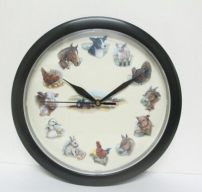 Farm Animals Plastic Wall Clock with Sound Tractor Pig Cow Horse