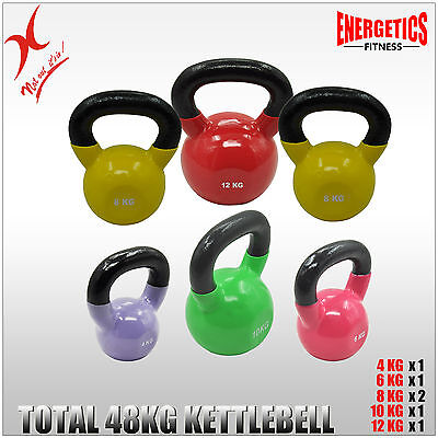 4 + 6 + 8x2 + 10 + 12 -TOTAL 48KG IRON VINYL KETTLEBELL WEIGHT STRENGTH TRAINING