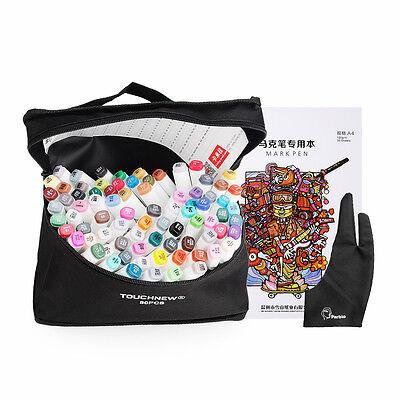 TOUCHNEW 80 Color Alcohol Graphic Art Twin Tip Marker Pen+ Bag+ A4 Book+ Glove