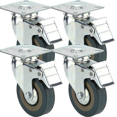4 X Heavy Duty 75mm Rubber Swivel Castor Wheels Trolley Caster Brake 360KG UK