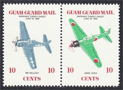 Guam Guard Mail Local Post 1979 Marianas Turkey Shoot WWII Stamp Pair MNH