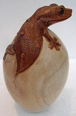 Unusual Giant Hand Carved Gecko in Egg Large Wooden Lizard in Egg