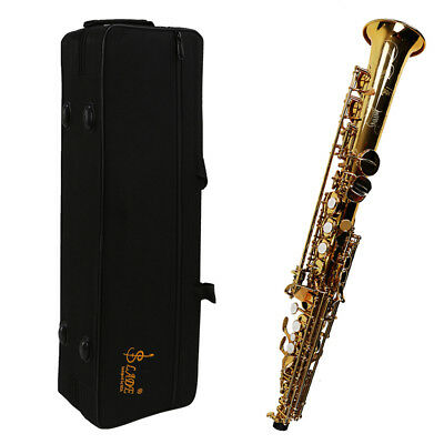 Professional Brass Golden Soprano Saxophone with Hard Case + Care Kit Brand New
