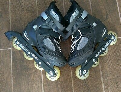 Salomon FSK In Line Skates Size 6.5 With Knee, Elbow and Wrist Protection Pads