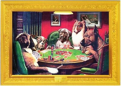 Dogs Playing Cards Poker by C.M. Coolidge Modern Postcard