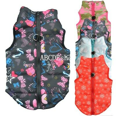Pet Cat Dog Puppy Soft Padded Vest Warm Coat Clothes Jacket Hoodie Apparel New
