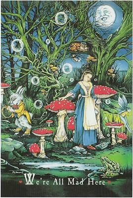 Alice in Wonderland We're All Mad Here Quote Postcard