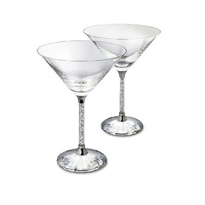 New Pair of Martini Cocktail Glasses with Swarovski Crystal Filled Stem