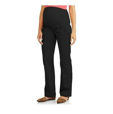 Planet Motherhood Maternity Full-Panel Pants W/Button Curved Pockets, Black, M