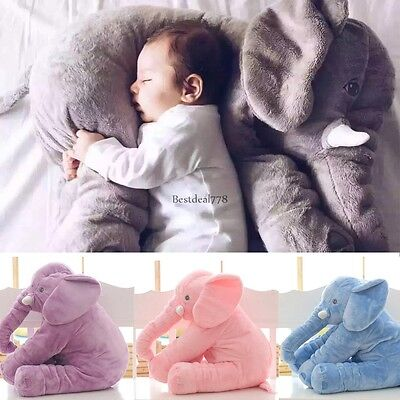 Large Elephant Pillow Soft Cushion Stuffed Baby Kids Plush Doll Toy Lumbar Nose