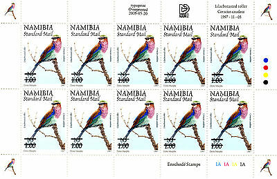 Namibia 1997 Definitives Overprinted 2005 Sg995 Sheetlet Of 10 Mnh