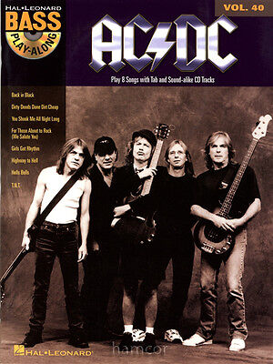 AC/DC Bass Guitar Play-Along Vol 40 TAB Book & CD Back in Black Rock