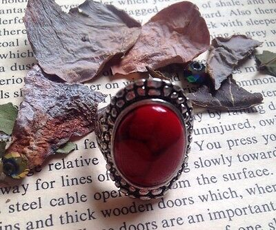 Beautiful tibetan silver ring, featuring  a Red turquoise gemstone. Boho Chic.