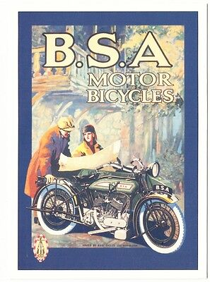 BSA Motorcycle Couple with Map 1910s-1920s Ad Repro Postcard