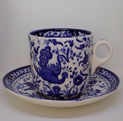 Burleigh ware Burslem Blue and white Regal peacock coffee cup and saucer