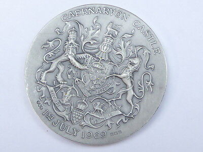 solid silver Prince Charles  1969 Investiture coin  Medallion & box