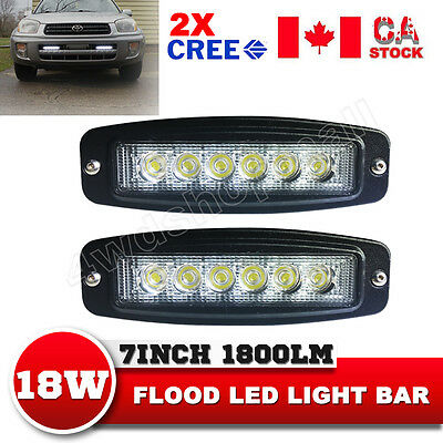 2X 7'' Inch 18W CREE LED Work Light Bar Flush Mount Flood Driving Lamp 4WD Truck