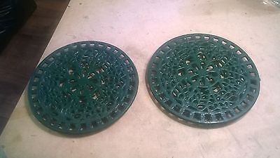 2 Large 8 Inches Cast Iron Vintage Green Round Trivet Fruit WILL SPLIT
