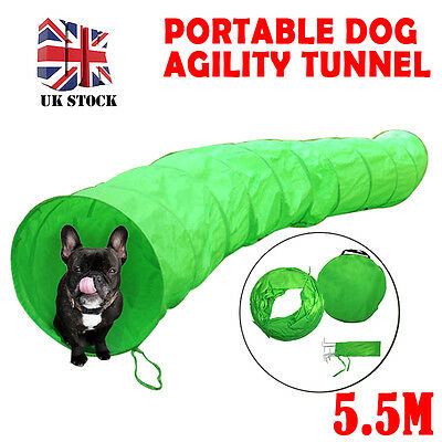 5.5M Dog Tunnel Agility Training Run Exercise Pet Puppy Outdoor Green+Carry bag