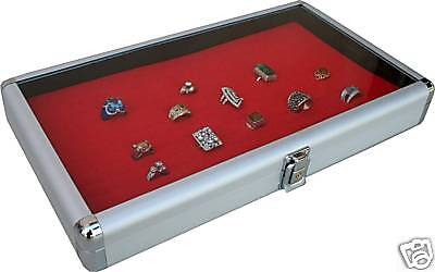 144  Aluminum Ring Case Box Display With Red Insert New