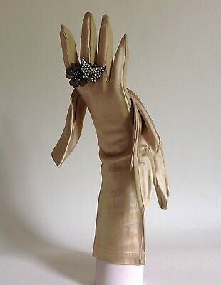 Vintage 1950s French Satin Gold Opera Evening Gloves With Cotton Palms Size 7