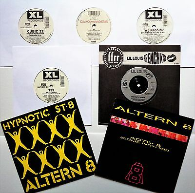 OLD SCHOOL RAVE VINYL 45 LOT Prodigy 808 State Altern 8 Cubic 22 T99 Acid House