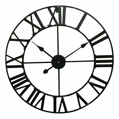 "24"" Large Metal Wall Clock Vintage Iron Style Retro Home Room Decor Gift"
