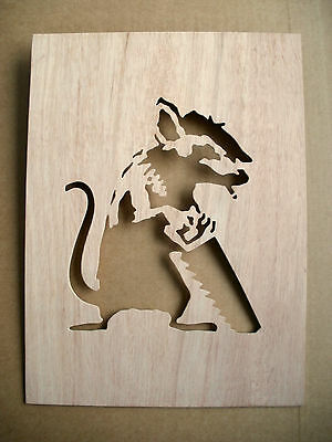 Banksy Rat With Saw Wooden Stencil