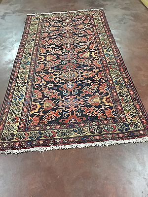 Semi Antique Hand Knotted Persian Malayer Rug Gallery Runner 5x10,5'x9'7''