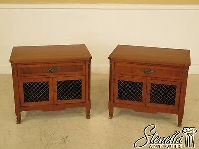 41106E: Pair HENREDON French Style Walnut Nightstands
