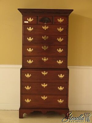28502E: Unusual Narrow Chippendale Mahogany 2 Piece Chest On Chest